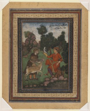 Indian. <em>A Falconer and a Gamekeeper</em>, ca. 1600. Opaque watercolor on paper, sheet: 8 11/16 x 7 in.  (22.1 x 17.8 cm). Brooklyn Museum, Gift of the executors of the Estate of Colonel Michael Friedsam, 32.1324 (Photo: Brooklyn Museum, 32.1324_IMLS_PS3.jpg)