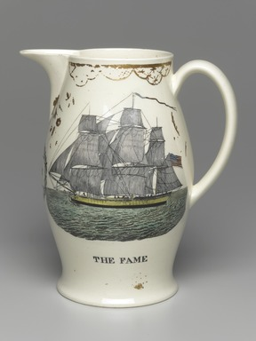 Unknown. <em>Pitcher</em>, ca. 1805. Glazed earthenware, Height: 9 3/8 in. (23.8 cm). Brooklyn Museum, Bequest of Caroline Low and Charles T. Pierce, 32.142.63. Creative Commons-BY (Photo: Brooklyn Museum, 32.142.63_PS1.jpg)