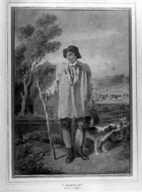 Francis Wheatley (British, 1747-1801). <em>The Shepherd</em>, 1800. Watercolor, Image: 9 1/16 x 6 1/2 in. (23 x 16.5 cm). Brooklyn Museum, Frederick Loeser Fund, 32.1579 (Photo: Brooklyn Museum, 32.1579_glass_bw.jpg)