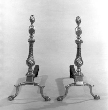 American. <em>Pair of Andirons with Flame Tops</em>, ca. 1760. Brass, 23 1/4 x 22 1/2 in. (59.1 x 57.2 cm). Brooklyn Museum, Henry L. Batterman Fund, 32.1607. Creative Commons-BY (Photo: Brooklyn Museum, 32.1607_bw.jpg)