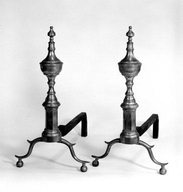 <em>Pair of Andirons</em>, 1775-1790. Brass, 21 x 18 1/2 in. (53.3 x 47 cm). Brooklyn Museum, Henry L. Batterman Fund, 32.1617a-b. Creative Commons-BY (Photo: Brooklyn Museum, 32.1617a-b_bw.jpg)