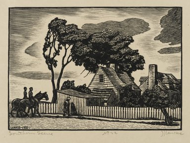 J.J. Lankes (American, 1884-1960). <em>Southern Scene</em>, 1932. Woodcut, cream colored wove paper, 5 1/8 x 7 3/16 in. (13 x 18.2 cm). Brooklyn Museum, Gift of members of the Woodcut Society, 32.180. © artist or artist's estate (Photo: Brooklyn Museum, 32.180_PS2.jpg)
