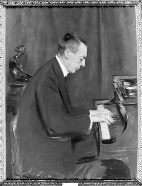 Unknown. <em>The Pianist: Sergei Rachmaninoff</em>, ca. 1918-26. Oil on canvas, 48 1/8 x 36 in. (122.2 x 91.4 cm). Brooklyn Museum, Gift of the Estate of Emil Fuchs, 32.199.119 (Photo: Brooklyn Museum, 32.199.119_framed_bw.jpg)