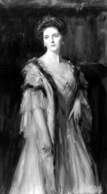 Emil Fuchs (American, born Austria, 1866-1929). <em>Emily Post</em>, ca. 1906. Oil on canvas, 59 15/16 x 34 1/2 in. (152.2 x 87.7 cm). Brooklyn Museum, Gift of the Estate of Emil Fuchs, 32.199.156 (Photo: Brooklyn Museum, 32.199.156_bw.jpg)