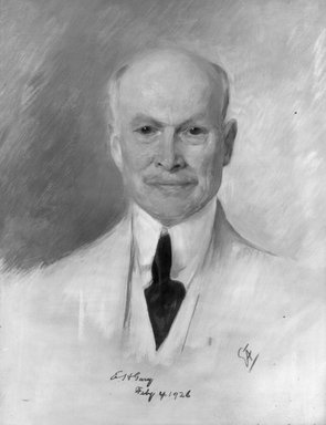 Emil Fuchs (American, born Austria, 1866-1929). <em>Judge Elbert E.H. Gary</em>, 1926. Oil on canvas, 31 1/2 x 39 1/4 in. (80 x 99.7 cm). Brooklyn Museum, Gift of the Estate of Emil Fuchs, 32.199.184 (Photo: Brooklyn Museum, 32.199.184_bw.jpg)