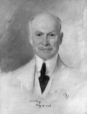 Emil Fuchs (American, born Austria, 1866-1929). <em>Judge Elbert E.H. Gary</em>, 1926. Oil on canvas, 31 1/2 x 39 1/4 in. (80 x 99.7 cm). Brooklyn Museum, Gift of the Estate of Emil Fuchs, 32.199.184 (Photo: Brooklyn Museum, 32.199.184_bw.jpg)