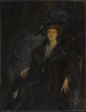 Emil Fuchs (American, born Austria, 1866-1929). <em>Lady in Blue (Mrs. Edward R. Thomas)</em>, ca. 1906. Oil on canvas, 55 1/4 x 42 1/16 in. (140.3 x 106.8 cm). Brooklyn Museum, Gift of the Estate of Emil Fuchs, 32.199.2 (Photo: Brooklyn Museum, 32.199.2_PS9.jpg)