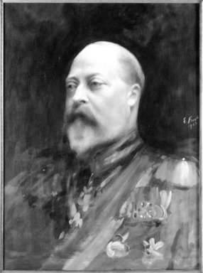 Emil Fuchs (American, born Austria, 1866-1929). <em>King Edward VII</em>, 1903., 28 3/4 x 21 3/4 in. (73.1 x 55.3 cm). Brooklyn Museum, Gift of the Estate of Emil Fuchs, 32.199.78 (Photo: Brooklyn Museum, 32.199.78_framed_bw.jpg)