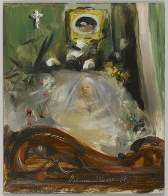 Emil Fuchs (American, born Austria, 1866-1929). <em>Queen Victoria Lying in State</em>, 1901. Oil on panel, 14 x 11 3/4 in. (35.5 x 29.9 cm). Brooklyn Museum, Gift of the Estate of Emil Fuchs, 32.199.83 (Photo: Brooklyn Museum, 32.199.83_PS1.jpg)