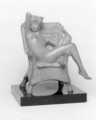 Emil Fuchs (American, born Austria, 1866-1929). <em>Siesta</em>. Bronze with stone base, 8 1/2 x 7 3/4 x 6 3/4 in., 10.2 lb. (21.6 x 19.7 x 17.1 cm, 4.6kg). Brooklyn Museum, Gift of the Estate of Emil Fuchs, 32.2092.12. Creative Commons-BY (Photo: Brooklyn Museum, 32.2092.12_bw.jpg)