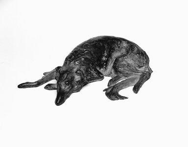 Emil Fuchs (American, born Austria, 1866-1929). <em>Wolfhound</em>. Bronze (cast filled with plaster), 2 1/4 x 9 3/16 x 5 7/8 in., 3.4 lb. (5.7 x 23.3 x 14.9 cm, 1.5kg). Brooklyn Museum, Gift of the Estate of Emil Fuchs, 32.2092.13. Creative Commons-BY (Photo: Brooklyn Museum, 32.2092.13_bw_SL3.jpg)