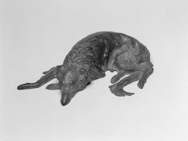 Emil Fuchs (American, born Austria, 1866-1929). <em>Wolfhound</em>. Bronze (cast filled with plaster), 2 1/4 x 9 3/16 x 5 7/8 in., 3 lb. (5.7 x 23.3 x 14.9 cm, 1.4kg). Brooklyn Museum, Gift of the Estate of Emil Fuchs, 32.2092.14. Creative Commons-BY (Photo: Brooklyn Museum, 32.2092.14_bw.jpg)