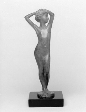 Emil Fuchs (American, born Austria, 1866-1929). <em>Age of Innocence</em>, 1913. Bronze on marble base, 9 3/4 x 3 1/2 x 3 1/2 in. (24.8 x 8.9 x 8.9 cm). Brooklyn Museum, Gift of the Estate of Emil Fuchs, 32.2092.15. Creative Commons-BY (Photo: Brooklyn Museum, 32.2092.15_bw.jpg)