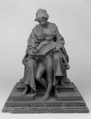 Emil Fuchs (American, born Austria, 1866-1929). <em>The First Lesson</em>, 1913. Bronze on marble base, 20 3/16 x 16 9/16 x 15 3/8 in. (51.3 x 42.1 x 39.1 cm). Brooklyn Museum, Gift of the Estate of the Emil Fuchs, 32.2092.18. Creative Commons-BY (Photo: Brooklyn Museum, 32.2092.18_bw.jpg)