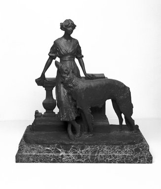 Emil Fuchs (American, born Austria, 1866-1929). <em>Girl and Dog</em>, 1913. Bronze and marble base, 23 5/8 x 22 5/8 x 12 1/16 in., 140 lb. (60 x 57.5 x 30.6 cm, 63.5kg). Brooklyn Museum, Gift of the Estate of Emil Fuchs, 32.2092.20. Creative Commons-BY (Photo: Brooklyn Museum, 32.2092.20_bw_SL3.jpg)