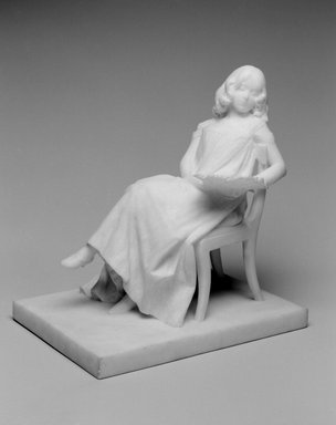 Emil Fuchs (American, born Austria, 1866-1929). <em>Girl with Fan</em>, 1900. Marble, 11 x 7 5/8 x 10 3/16 in. (27.9 x 19.4 x 25.9 cm). Brooklyn Museum, Gift of the Estate of Emil Fuchs, 32.2092.23. Creative Commons-BY (Photo: Brooklyn Museum, 32.2092.23_bw.jpg)