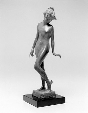 Emil Fuchs (American, born Austria, 1866-1929). <em>The Butterfly</em>. Bronze, marble, 12 1/8 x 3 7/8 x 4 in. (30.8 x 9.8 x 10.2 cm). Brooklyn Museum, Gift of the Estate of Emil Fuchs, 32.2092.25. Creative Commons-BY (Photo: Brooklyn Museum, 32.2092.25_bw.jpg)
