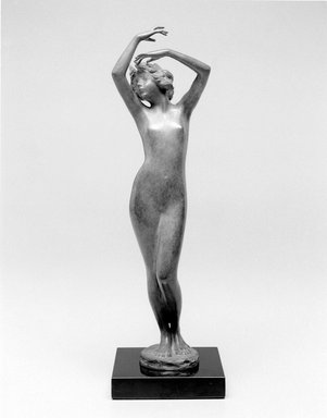 Emil Fuchs (American, born Austria, 1866-1929). <em>Dawn</em>. Bronze, stone, 13 1/4 x 3 13/16 x 4 in. (33.7 x 9.7 x 10.2 cm). Brooklyn Museum, Gift of the Estate of Emil Fuchs, 32.2092.26. Creative Commons-BY (Photo: Brooklyn Museum, 32.2092.26_bw.jpg)