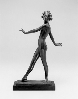 Emil Fuchs (American, born Austria, 1866-1929). <em>The Dancer</em>, ca. 1912. Bronze, marble, 12 7/16 x 3 x 3 7/8 in. (31.6 x 7.6 x 9.8 cm). Brooklyn Museum, Gift of the Estate of Emil Fuchs, 32.2092.27. Creative Commons-BY (Photo: Brooklyn Museum, 32.2092.27_bw.jpg)
