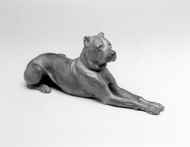 Emil Fuchs (American, born Austria, 1866-1929). <em>Great Dane</em>, 1893. Bronze, 5 3/4 x 15 1/2 x 5 3/8 in., 10.2 lb. (14.6 x 39.4 x 13.7 cm, 4.6kg). Brooklyn Museum, Gift of the Estate of Emil Fuchs, 32.2092.7. Creative Commons-BY (Photo: Brooklyn Museum, 32.2092.7_bw.jpg)