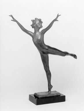 Emil Fuchs (American, born Austria, 1866-1929). <em>Joy of Life</em>. Bronze with stone base, 12 3/8 x 10 3/4 x 5 3/8 in. (31.4 x 27.3 x 13.7 cm). Brooklyn Museum, Gift of the Estate of Emil Fuchs, 32.2092.8. Creative Commons-BY (Photo: Brooklyn Museum, 32.2092.8_bw.jpg)