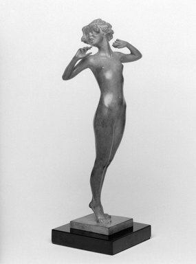 Emil Fuchs (American, born Austria, 1866-1929). <em>Lazy</em>. Bronze with stone base, 12 3/4 x 4 x 4 1/4 in. (32.4 x 10.2 x 10.8 cm). Brooklyn Museum, Gift of the Estate of Emil Fuchs, 32.2092.9. Creative Commons-BY (Photo: Brooklyn Museum, 32.2092.9_bw.jpg)