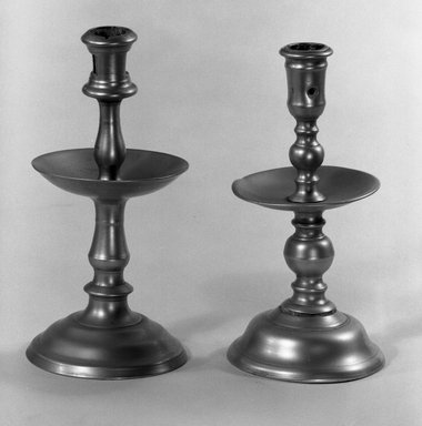 <em>Candlestick</em>, early 18th century. Cast brass, 8 x 1 3/8 in. (20.3 x 3.5 cm). Brooklyn Museum, Bequest of Margaret S. Bedell, 32.428. Creative Commons-BY (Photo: , 32.427_32.428_acetate_bw.jpg)