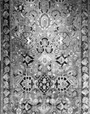 <em>Palmette and Vinescroll Carpet</em>, 17th century. Wool and cotton, Old Dims: 136 3/4 x 63 3/4 in. (347.3 x 161.9 cm). Brooklyn Museum, Gift of the executors of the Estate of Colonel Michael Friedsam, 32.534. Creative Commons-BY (Photo: Brooklyn Museum, 32.534_bw.jpg)