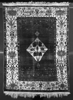 <em>Persian Rug</em>, late 19th century. Warp: ivory silk, zS