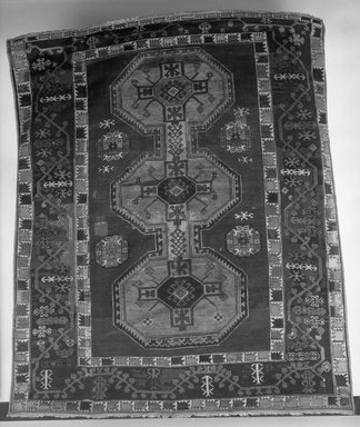 <em>Bergama Carpet</em>, 18th century. Wool, Old Dims: 80 1/2 x 65 3/4 in. (204.5 x 167 cm). Brooklyn Museum, Gift of the executors of the Estate of Colonel Michael Friedsam, 32.547. Creative Commons-BY (Photo: Brooklyn Museum, 32.547_bw.jpg)