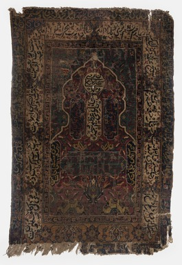 <em>Prayer Carpet</em>, Early 17th century. Wool pile, cotton warp, and wool and cotten weft, New Dims: 48 7/16 × 34 13/16 in. (123 × 88.5 cm). Brooklyn Museum, Gift of the executors of the Estate of Colonel Michael Friedsam, 32.550. Creative Commons-BY (Photo: Brooklyn Museum, 32.550_PS11.jpg)