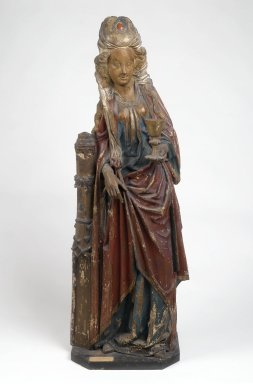 <em>Saint Barbara</em>, late 15th century. Wood with polychromy, with base: 57 x 18 1/2 x 12 1/4 in. (144.8 x 47 x 31.1 cm). Brooklyn Museum, Gift of the executors of the Estate of Colonel Michael Friedsam, 32.665. Creative Commons-BY (Photo: Brooklyn Museum, 32.665_PS2.jpg)