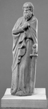 Unknown. <em>Statuette of St. Paul</em>. Marble, 13 x 4 x 2 in. (33 x 10.2 x 5.1 cm). Brooklyn Museum, Gift of the executors of the Estate of Colonel Michael Friedsam, 32.668. Creative Commons-BY (Photo: Brooklyn Museum, 32.668_acetate_bw.jpg)