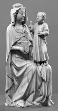 Unknown. <em>Statuette of the Virgin and Child</em>, 14th century. Ivory, 7 x 3 x 2 in. (17.8 x 7.6 x 5.1 cm). Brooklyn Museum, Gift of the executors of the Estate of Colonel Michael Friedsam, 32.669. Creative Commons-BY (Photo: Brooklyn Museum, 32.669_acetate_bw.jpg)