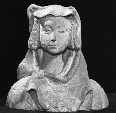 Unknown. <em>Bust of a Woman</em>, 16th century. Stone, 19 inches high. Brooklyn Museum, Gift of the executors of the Estate of Colonel Michael Friedsam, 32.679. Creative Commons-BY (Photo: Brooklyn Museum, 32.679_front_acetate_bw.jpg)
