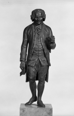 Jean-Antoine Houdon (French, 1741-1828). <em>Jean Jacques Rousseau</em>. Bronze, 19 x 6 x 6 in. (48.3 x 15.2 x 15.2 cm). Brooklyn Museum, Gift of the executors of the Estate of Colonel Michael Friedsam, 32.689. Creative Commons-BY (Photo: Brooklyn Museum, 32.689_front_bw.jpg)