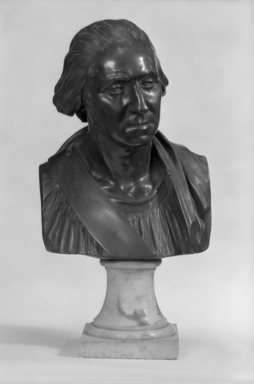 Jean-Antoine Houdon (French, 1741-1828). <em>Bust of George Washington</em>. Bronze, With Base: 19 x 11 x 9 in. (48.3 x 27.9 x 22.9 cm). Brooklyn Museum, Gift of the executors of the Estate of Colonel Michael Friedsam, 32.691. Creative Commons-BY (Photo: Brooklyn Museum, 32.691_front_view1_bw.jpg)