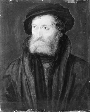 Corneille de Lyon (Dutch,1500/10-1575, active in France). <em>Portrait of a Man, said to be Théodore de Bèze</em>. Tempera on panel, 7 x 4 1/2 in.  (17.8 x 11.4 cm). Brooklyn Museum, Gift of the executors of the Estate of Colonel Michael Friedsam, 32.775 (Photo: Brooklyn Museum, 32.775_acetate_bw.jpg)