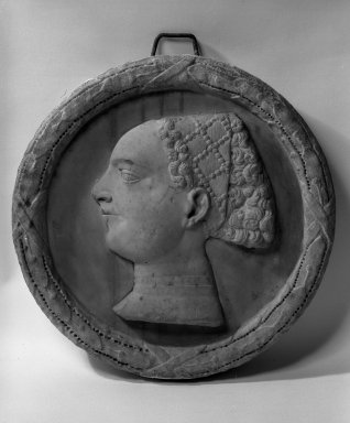 Unknown. <em>Bust of a Lady</em>, 14th century. Marble, 17 1/2 inches in diameter. Brooklyn Museum, Gift of the executors of the Estate of Colonel Michael Friedsam, 32.777. Creative Commons-BY (Photo: Brooklyn Museum, 32.777_bw.jpg)