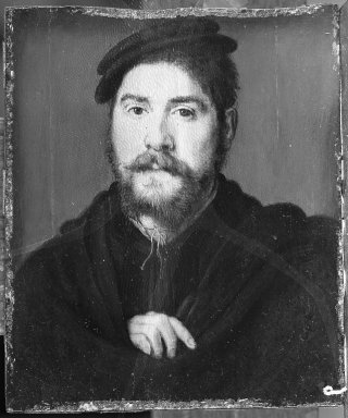 Corneille de Lyon (Dutch,1500/10-1575, active in France). <em>Portrait of a Man with Right Hand</em>, 1530s. Tempera on panel, 6 1/8 x 5 1/4 in.  (15.6 x 13.3 cm). Brooklyn Museum, Gift of the executors of the Estate of Colonel Michael Friedsam, 32.779 (Photo: Brooklyn Museum, 32.779_acetate_bw.jpg)