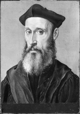 Corneille de Lyon (Dutch,1500/10-1575, active in France). <em>Portrait of a Man in Black Costume</em>. Tempera on panel, 8 1/2 x 5 7/8 in.  (21.6 x 14.9 cm). Brooklyn Museum, Gift of the executors of the Estate of Colonel Michael Friedsam, 32.781 (Photo: Brooklyn Museum, 32.781_acetate_bw.jpg)