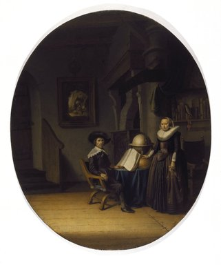 Circle of Gerrit Dou (Dutch, 1613-1675). <em>Burgomaster Hasselaar and His Wife</em>, mid-17th century. Oil on panel, Oval: 27 3/16 x 23 in. (69.1 x 58.4 cm). Brooklyn Museum, Gift of the executors of the Estate of Colonel Michael Friedsam, 32.783 (Photo: Brooklyn Museum, 32.783_SL3.jpg)