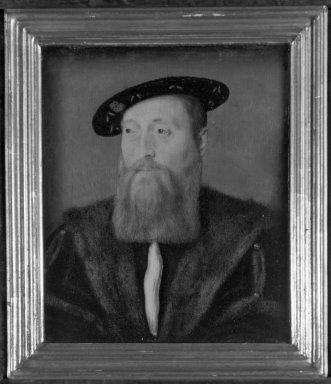 Corneille de Lyon (Dutch,1500/10-1575, active in France). <em>Portrait of a Man in a Velvet hat</em>. Tempera on panel, 7 5/8 x 6 3/4 in.  (19.4 x 17.1 cm). Brooklyn Museum, Gift of the executors of the Estate of Colonel Michael Friedsam, 32.790 (Photo: Brooklyn Museum, 32.790_acetate_bw.jpg)