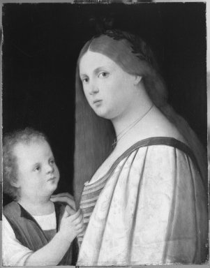 after Vincenzo di Biagio Catena (Italian, Venetian, 1470/80-1531). <em>Woman and Child</em>, early 1500s. Oil on panel, 18 1/2 x 14 1/2 in.  (47.0 x 36.8 cm). Brooklyn Museum, Gift of the executors of the Estate of Colonel Michael Friedsam, 32.798 (Photo: Brooklyn Museum, 32.798_acetate_bw.jpg)