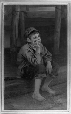 John George Brown (American, born England, 1831-1913). <em>Seated Boy Smoking a Cigar</em>, 1867. Oil on canvas, 11 3/4 x 6 15/16 in. (29.9 x 17.7 cm). Brooklyn Museum, Gift of the executors of the Estate of Colonel Michael Friedsam, 32.801 (Photo: Brooklyn Museum, 32.801_acetate_bw.jpg)