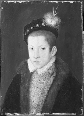 Circle of François Clouet (French, ca. 1516-1572). <em>Portrait of a Child</em>, ca. 1570. Oil on panel, 7 3/4 x 5 5/8 in. (19.7 x 14.3 cm). Brooklyn Museum, Gift of the executors of the Estate of Colonel Michael Friedsam, 32.811 (Photo: Brooklyn Museum, 32.811_acetate_bw.jpg)