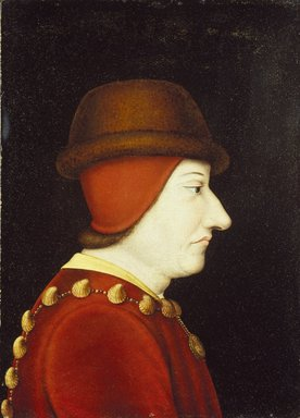 Copy after Jean Fouquet (French, born 1415/20, died before 1481). <em>Portrait of Louis XI</em>, 16th century. Oil on panel, 15 x 10 3/4 in.  (38.1 x 27.3 cm). Brooklyn Museum, Gift of the executors of the Estate of Colonel Michael Friedsam, 32.819 (Photo: Brooklyn Museum, 32.819_SL1.jpg)