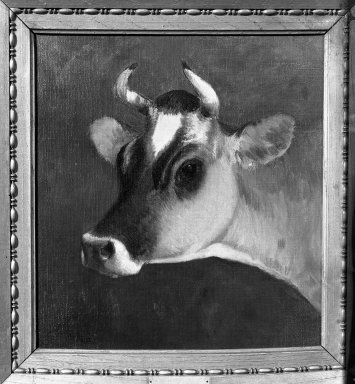 William Hart (American, born Scotland, 1823-1894). <em>Head of a Cow</em>, second half 19th century. Oil on canvas, 13 1/8 x 12 1/8 in. (33.4 x 30.8 cm). Brooklyn Museum, Gift of the executors of the Estate of Colonel Michael Friedsam, 32.820 (Photo: Brooklyn Museum, 32.820_acetate_bw.jpg)