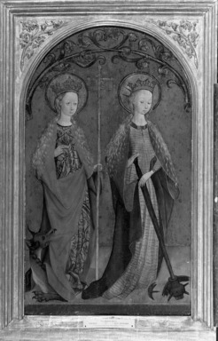 School of Cologne. <em>Saints Margaret and Catherine</em>, ca. 1460-1480. Oil on linen mounted on panel, 30 1/4 x 18 in. (76.8 x 45.7 cm). Brooklyn Museum, Gift of the executors of the Estate of Colonel Michael Friedsam, 32.823 (Photo: Brooklyn Museum, 32.823_acetate_bw.jpg)