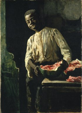 Thomas Hovenden (American, 1840-1895). <em>I Know'd It Was Ripe</em>, ca. 1885. Oil on canvas, 21 15/16 x 15 7/8 in. (55.7 x 40.3 cm). Brooklyn Museum, Gift of the executors of the Estate of Colonel Michael Friedsam, 32.825 (Photo: Brooklyn Museum, 32.825_SL1.jpg)